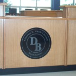Custom Circ Desk with Insignia