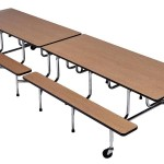 Rectangle Bench Cafeteria Table
