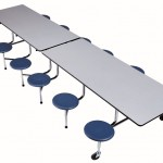 Rectangle Cafeteria Table with Stools